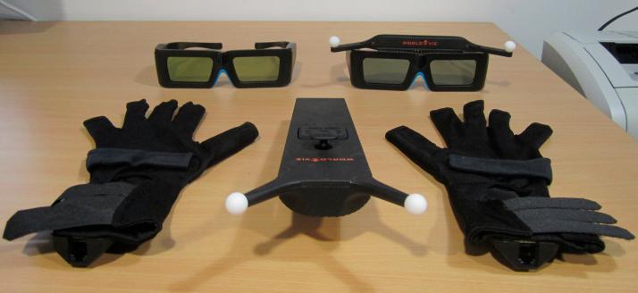 Guantes, gafas con sensor led activo y sin sensor led, y mando multifunción con sensores leds activos
