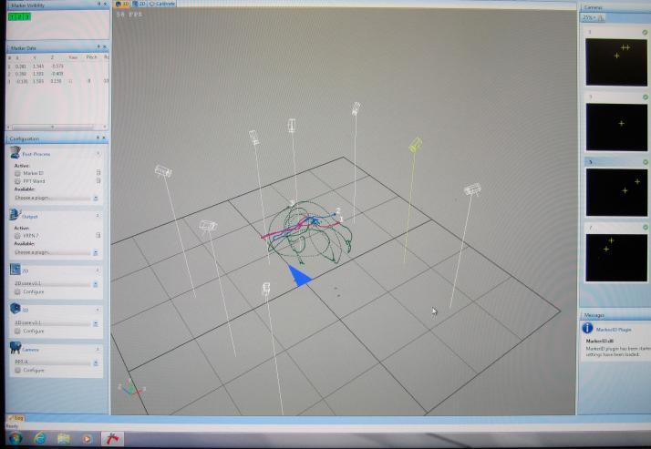 Sistema software de tracking óptico con 8 cámaras y sensores led en funcionamiento